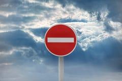 Entrée de panneau routier interdite Photo libre de droits