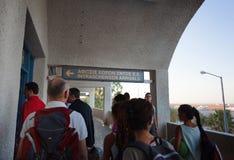 Entrée de passager à l'aéroport international de Santorini ISL Photographie stock