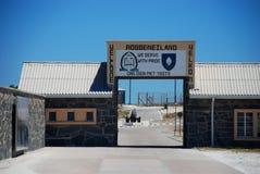Entrée de prison d'île de Robben La vue au-dessus de la montagne de ville et de Tableau du seaa dégrossissent Le Cap-Occidental,  Image stock