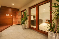 Entrée de sauna Photo libre de droits
