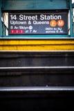 Entrée de station de métro de NYC Photos libres de droits