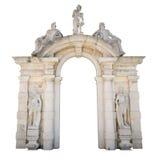 Entrée en pierre blanche avec des statues appropriées comme cadre ou frontière image stock