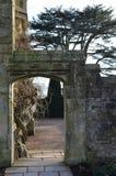 Entrée en pierre fleurie de jardin Image stock