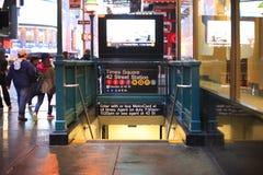 Entrée Manhattan de station de métro de rue de Times Square quarante-deuxième Image stock