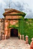 Entrée principale au château de Montjuic, Barcelone, Catalogne, S photographie stock libre de droits