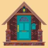 Entrée principale bleu vert sur le mur de briques brun avec la lanterne Illustration de maison de bande dessinée Élément de bâtim illustration stock