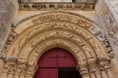 Entrée principale d'église d'Aulnay de Saintonge Images stock