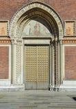 Entrée principale de Santa Maria del Carmine Church dans le voisinage de Brera de Milan, Italie Photographie stock libre de droits
