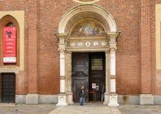 Entrée principale, l'église et couvent de delle Grazie, la maison du dernier dîner de Leonardo, Milan, Italie de Santa Maria photos libres de droits