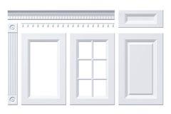 Entrée principale, tiroir, colonne, corniche pour le buffet sur le blanc Photo libre de droits