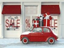 Entraînement avec les cadeaux noirs et rouges pendant vendredi noir rendu 3d Photo stock