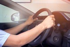 Entraînement d'une perspective personnelle de voiture Photos libres de droits
