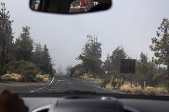 Entraînement de la route dans le brouillard photographie stock libre de droits