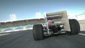 Entraînement derrière la voiture de course F1 sur le circuit de désert illustration stock