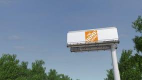 Entraînement vers le panneau d'affichage de publicité avec le logo de Home Depot 3D éditorial rendant l'agrafe 4K banque de vidéos