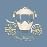Entraîneur de mariage d'élément royal de décoration de chariot de vintage de conte de fées rétro avec le vecteur accessoire éléga Image stock