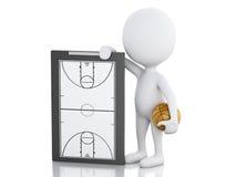 entraîneur des personnes de race blanche 3d avec le presse-papiers de basket-ball Image stock