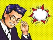 Entraîneur ou maître d'école masculin d'affaires en verres avec l'art de bruit de bulle de la parole comique illustration libre de droits