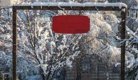 Entra указателя места заполнения красного модель-макета знака рождества праздника деревянного пустое Стоковое Изображение RF
