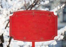 Entra указателя места заполнения красного модель-макета знака рождества праздника деревянного пустое Стоковое Фото
