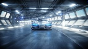 Entra?nement rapide de voiture futuriste dans le tunnel du sci fi, coridor Concept d'avenir Animation 4K r?aliste illustration libre de droits