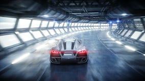 Entra?nement rapide de voiture futuriste dans le tunnel du sci fi, coridor Concept d'avenir Animation 4K r?aliste illustration stock
