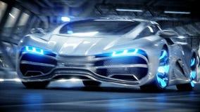 Entra?nement rapide de voiture futuriste dans le tunnel du sci fi, coridor Concept d'avenir Animation 4K r?aliste illustration de vecteur