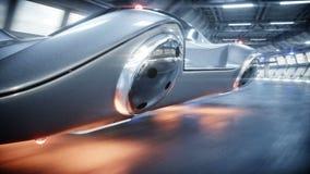 Entra?nement rapide de voiture futuriste de vol dans le tunnel du sci fi, coridor Concept d'avenir Animation 4K r?aliste illustration de vecteur