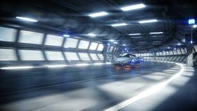 Entra?nement rapide de voiture futuriste de vol dans le tunnel du sci fi, coridor Concept d'avenir Animation 4K r?aliste illustration stock