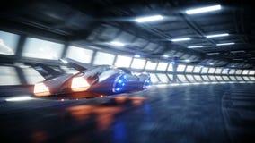 Entra?nement rapide de voiture futuriste de vol dans le tunnel du sci fi, coridor Concept d'avenir Animation 4K r?aliste illustration libre de droits