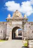 Entrabce gate of La Mola Fortress Royalty Free Stock Photos