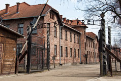 Entrace del tubo principal en los campos de exterminación en Polonia Fotos de archivo libres de regalías