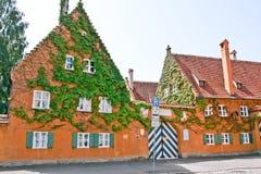 Entrace in the Fuggerei neighbourhood, Augsburg, Bayern, Germany Stock Image