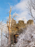 Entrace gate to Medieval castle ruins of Andelska Hora, aka Engelsburg, near Karlovy Vary, Czech Republic, Europe. Sunny and freezy winter day shot royalty free stock images