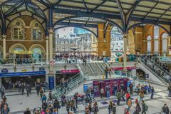 Entrace to the mainline station of Liverpool Street, at a busy t stock image