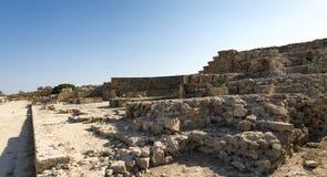 Entrada às sobras do anfiteatro de Paphos Odeon imagem de stock
