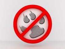 A entrada é proibida aos animais. imagem 3D Imagens de Stock Royalty Free