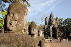 Entrada Ain de Angkor Thom, Cambodia Fotografia de Stock Royalty Free