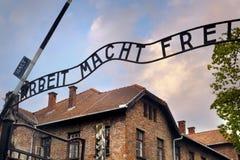 Entrada al Auschwitz Imagen de archivo libre de regalías