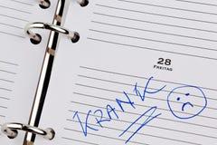 Entrada al calendario: enfermo Fotografía de archivo libre de regalías