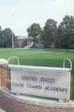 Entrada al guardacostas de Estados Unidos Academy, nuevo Londres, Connecticut fotografía de archivo