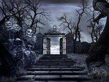 Entrada al jardín espeluznante Imagen de archivo