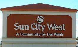 Entrada al oeste de Sun City en Arizona imagen de archivo libre de regalías