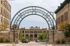 Entrada al parque de Schlitz en Milwaukee céntrico foto de archivo libre de regalías