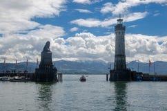 Entrada al puerto de Lindau foto de archivo libre de regalías