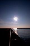 Entrada al puerto de Shoreham en la puesta del sol Fotografía de archivo libre de regalías