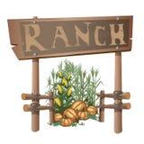 Entrada al rancho, cosecha del maíz y calabazas stock de ilustración