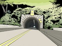 Entrada al túnel en el camino imágenes de archivo libres de regalías