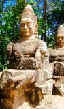 Entrada Ankor Wat da estátua Fotos de Stock Royalty Free