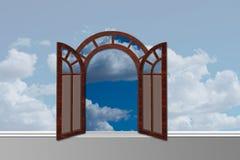 A entrada ao céu com portas abre ilustração stock